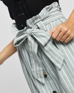 Glamorous Button Down Belted Skirt - Skirts (Dusty Mint Stripe)