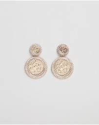 TOPSHOP - Coin Pave Edged Drop Earrings