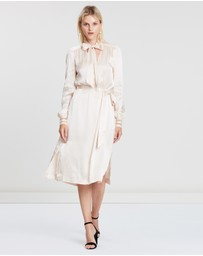 REISS - Ray Satin Longline Shirt Dress