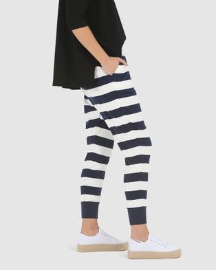 Lincoln St Wrap Crop Pants - Pants (Navy Stripe)