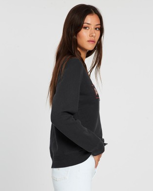 All About Eve AAE Leopard Crew Sweater - Sweats (WASHED BLACK)