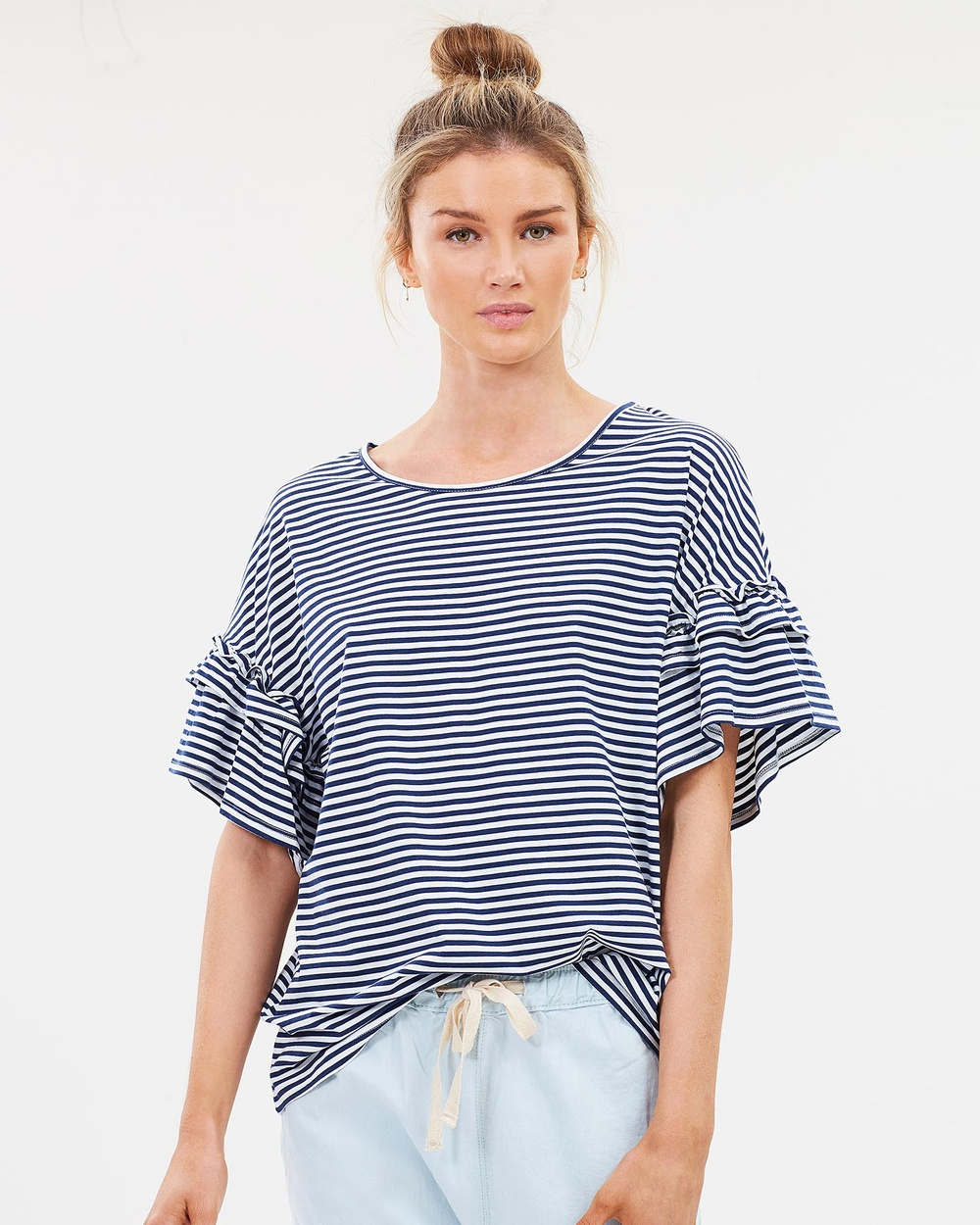 Lincoln St The Frill Cuff Tee Tops Navy Stripe The Frill Cuff Tee