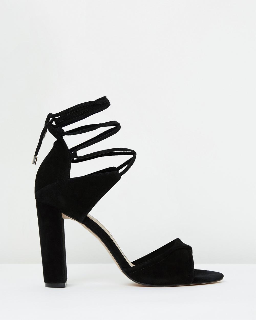 Mode Collective Origami Sandal Heels Black Suede Origami Sandal