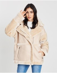 Missguided - Faux Fur Sleeve Aviator Jacket
