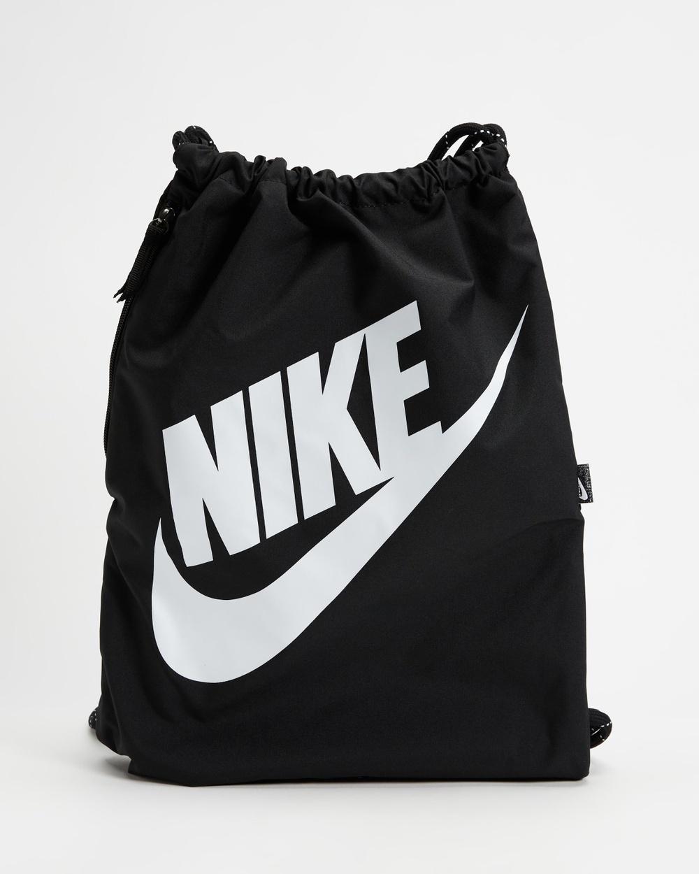 Nike Heritage Drawstring Bag Backpacks Black & White