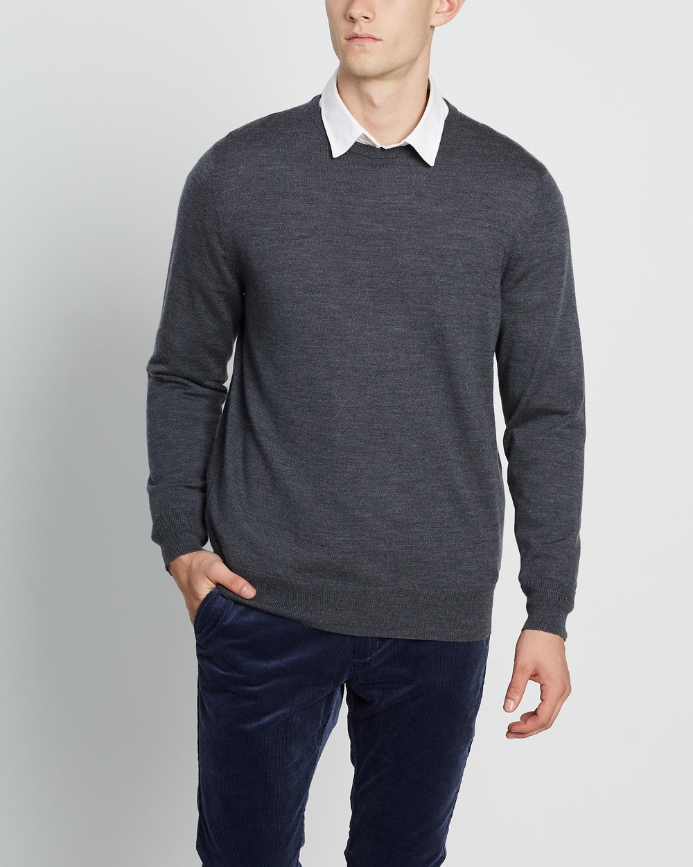 3 Wise Men The Hunter Merino Knit Jumpers & Cardigans Charcoal