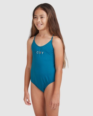 Roxy Girls 8 14 Summer Of Surf One Piece Swimsuit - One-Piece / Swimsuit (INK BLUE)