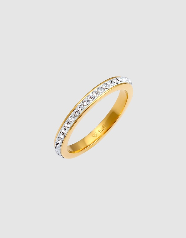 Women Ring Bandwith Crystals in 925 Sterling Silver Gold Plated