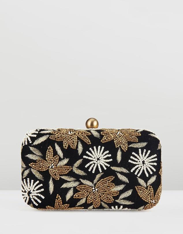 Women Velvet Flower Box Clutch