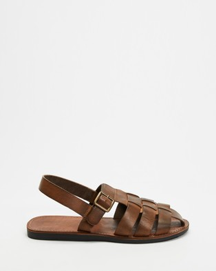 Double Oak Mills - Kennet Leather Sandals Casual Shoes (Brown)