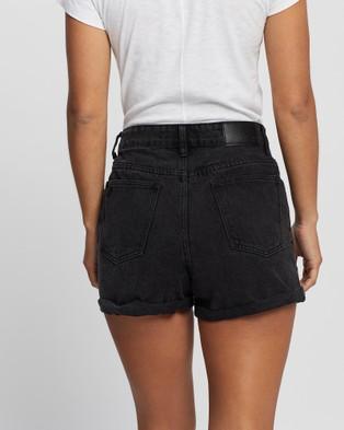 Silent Theory Union High Waisted Denim Shorts - Denim (WASHED BLACK)