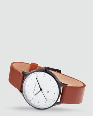 Status Anxiety Inertia - Watches (matte black / white face / tan strap)