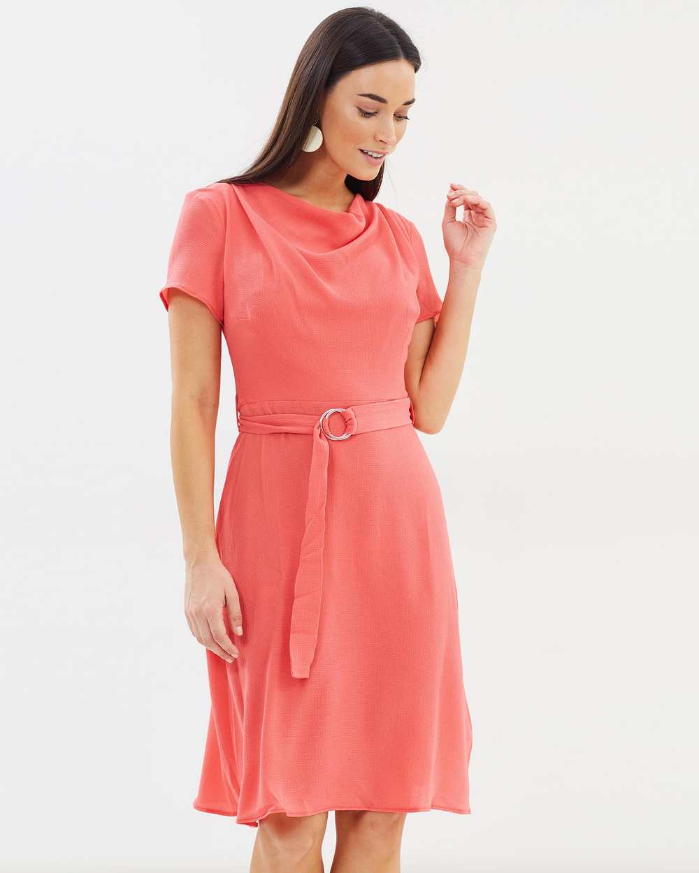 Dorothy Perkins Cowl Neck Dress Dresses Coral Cowl-Neck Dress