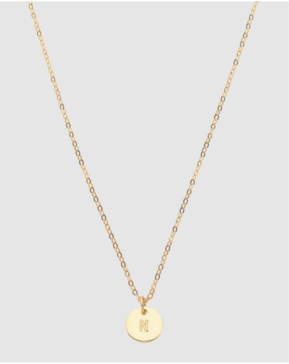 Dear Addison Initial N Letter Necklace Gold