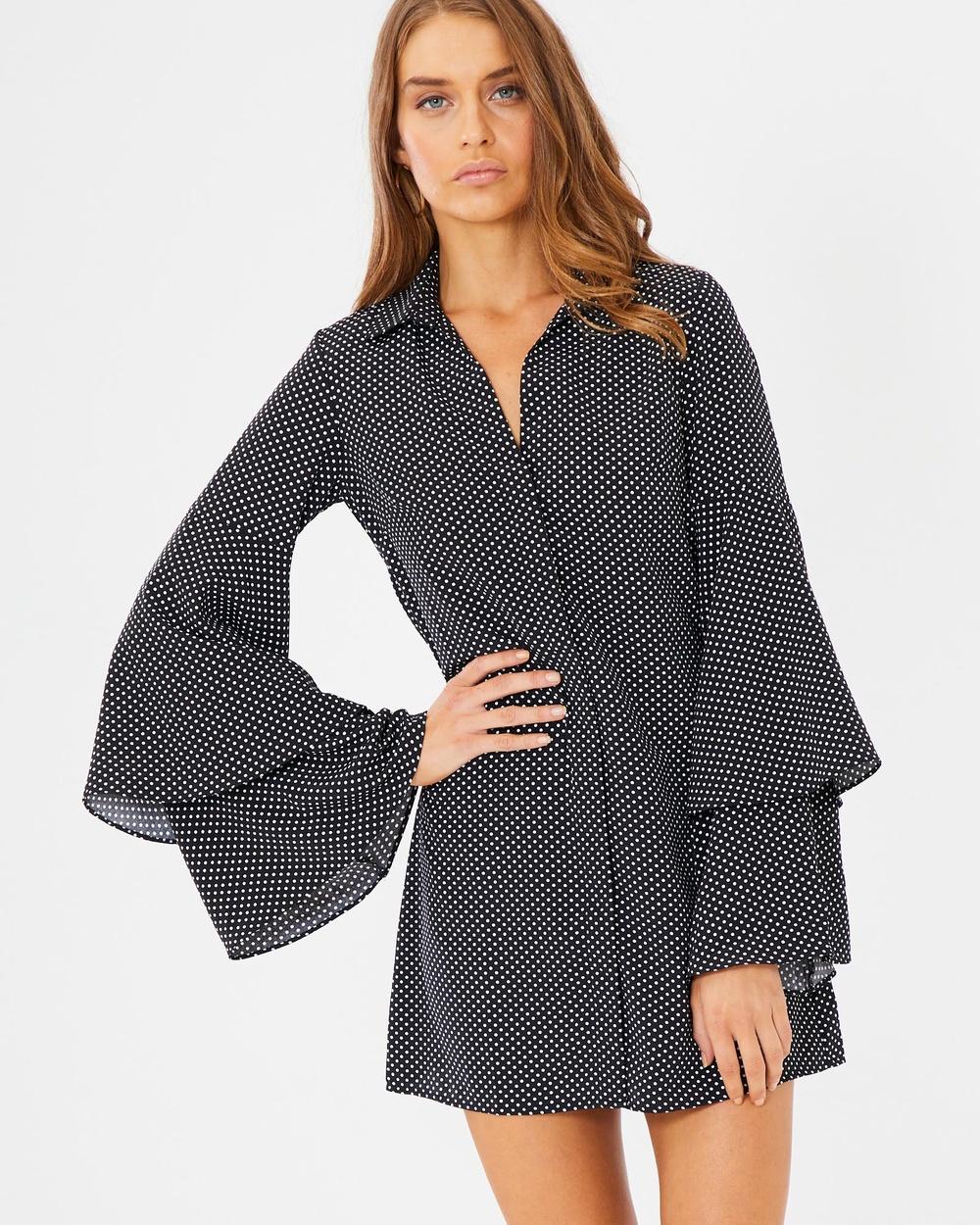Tussah Paola Shirt Dress Printed Dresses Black Paola Shirt Dress