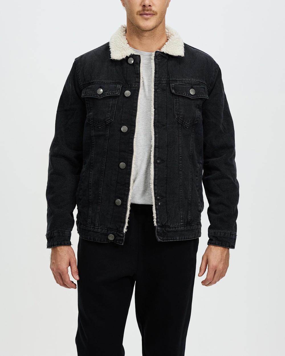 Factorie Denim Sherpa Jacket jacket Washed Black Australia