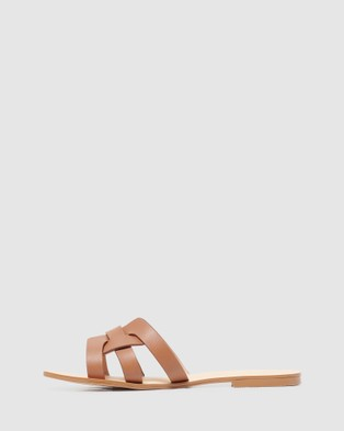 Forever New Ashley Woven Slide Sandals - Flats (Tan)