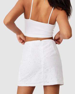 Cotton On Straight Talking Mini Skirt - Skirts (White Broderie)
