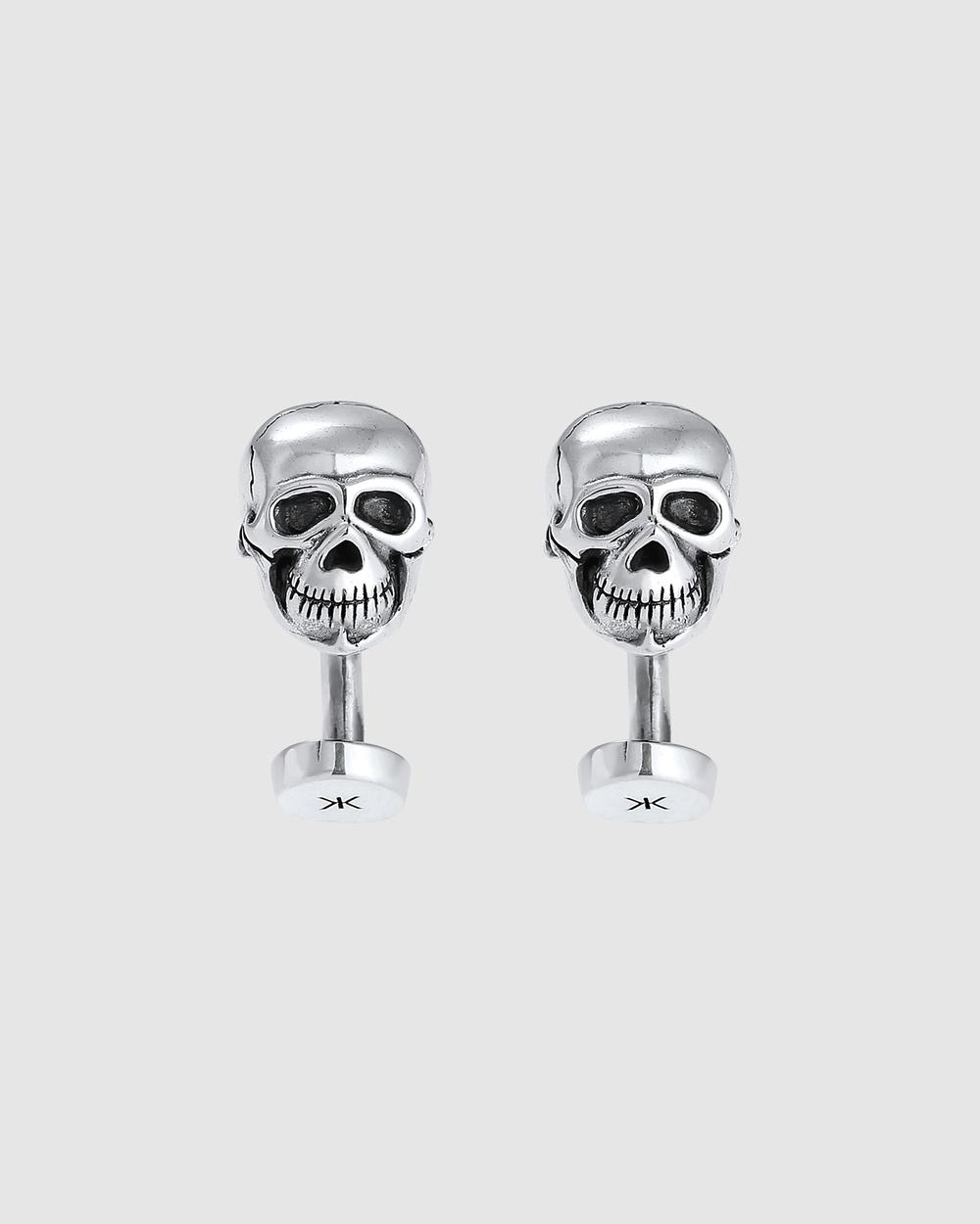 Kuzzoi Cufflinks Skull Massive Trend in 925 Sterling Silver Ties & Silver