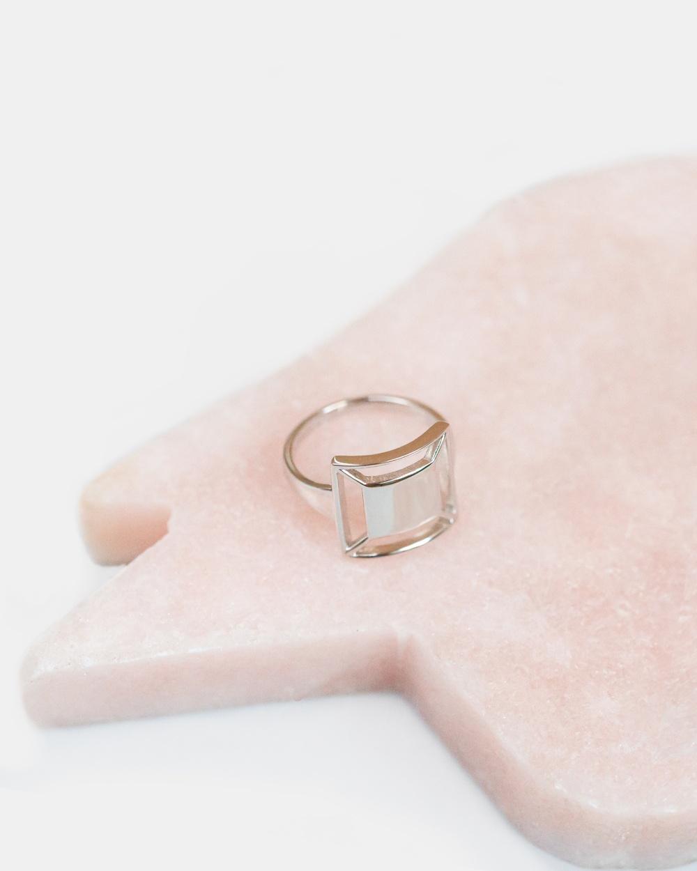 CA Jewellery Deco Square Ring Silver silver