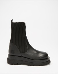 AERE - Chunky Leather Sock Boots