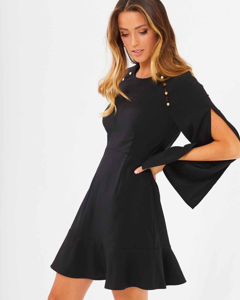 Calli Adriana Split Sleeve Button Dress Dresses Black Adriana Split Sleeve Button Dress