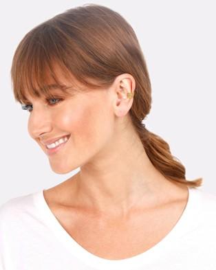 Elli Jewelry Earrings Earcuff Single Feather Boho in 925 Sterling Silver Gold Plated - Jewellery (Gold)