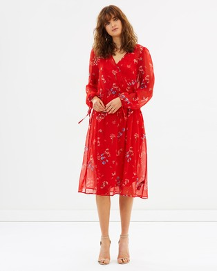 Dorothy Perkins – Chiffon Tie Sleeve Midi Dress – Dresses (Red Floral)