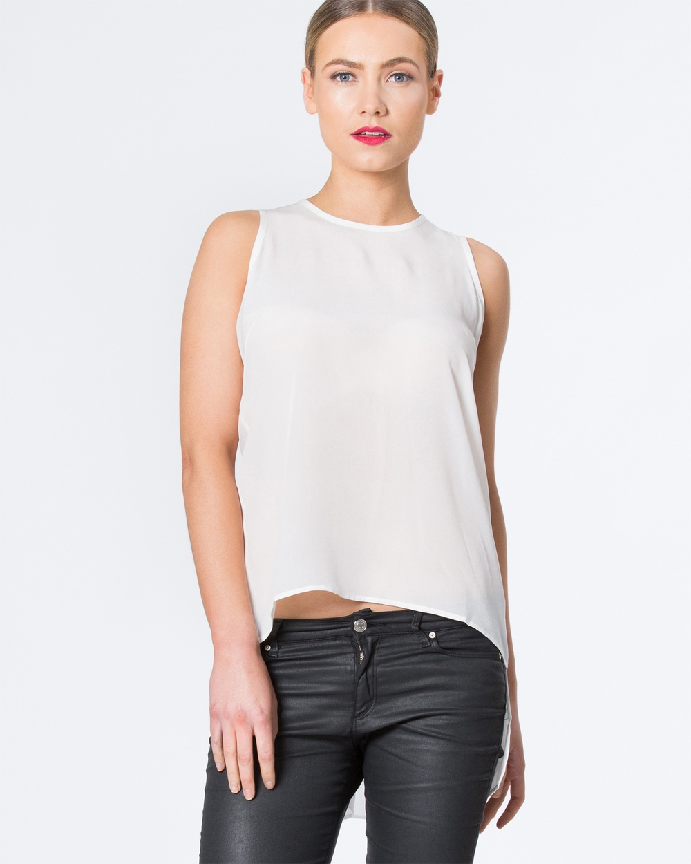 SIYONA Back Draped Silk Top Tops Cream Back Draped Silk Top