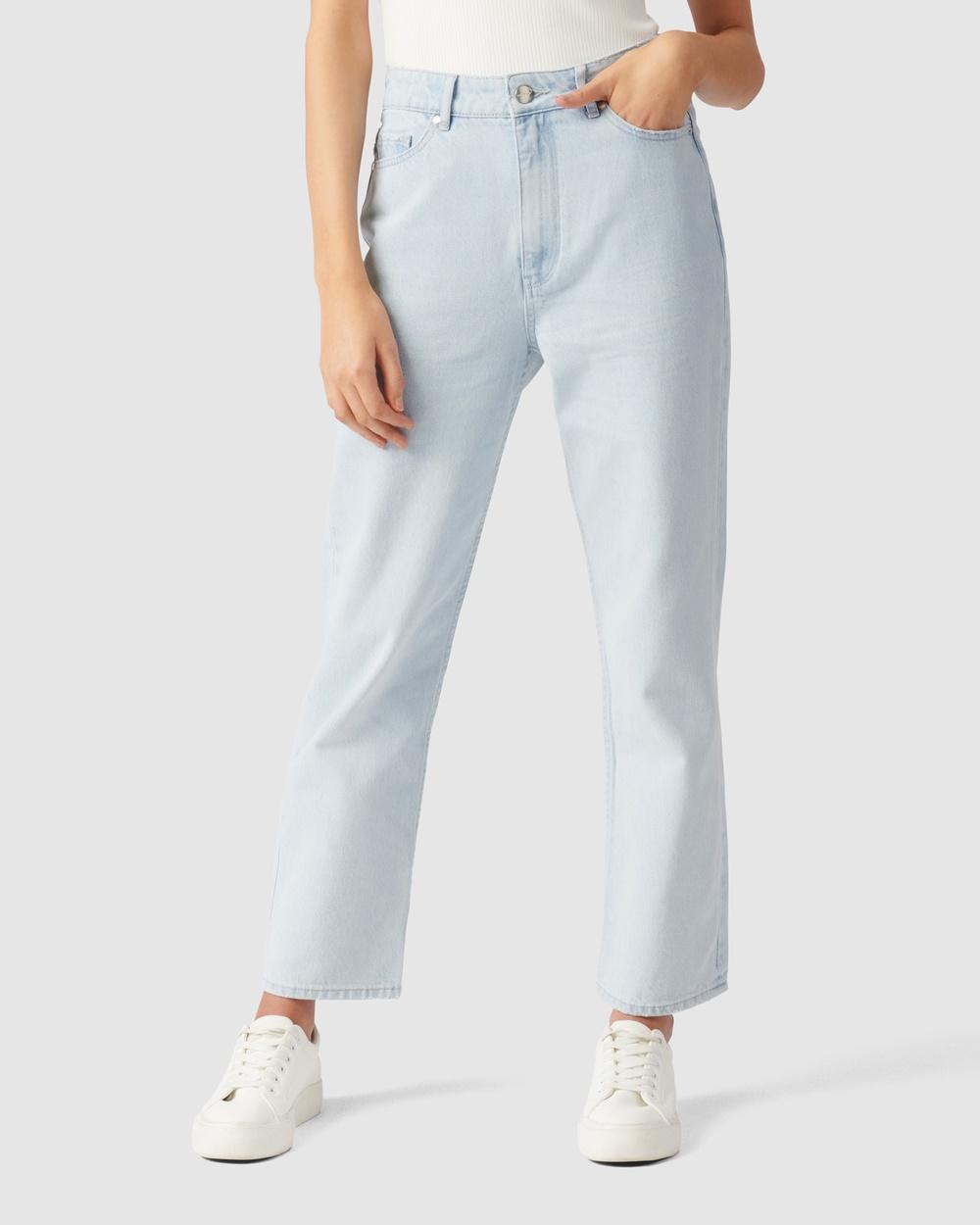 Forever New Tilly High Rise Straight Jean High-Waisted Rome Blue Australia