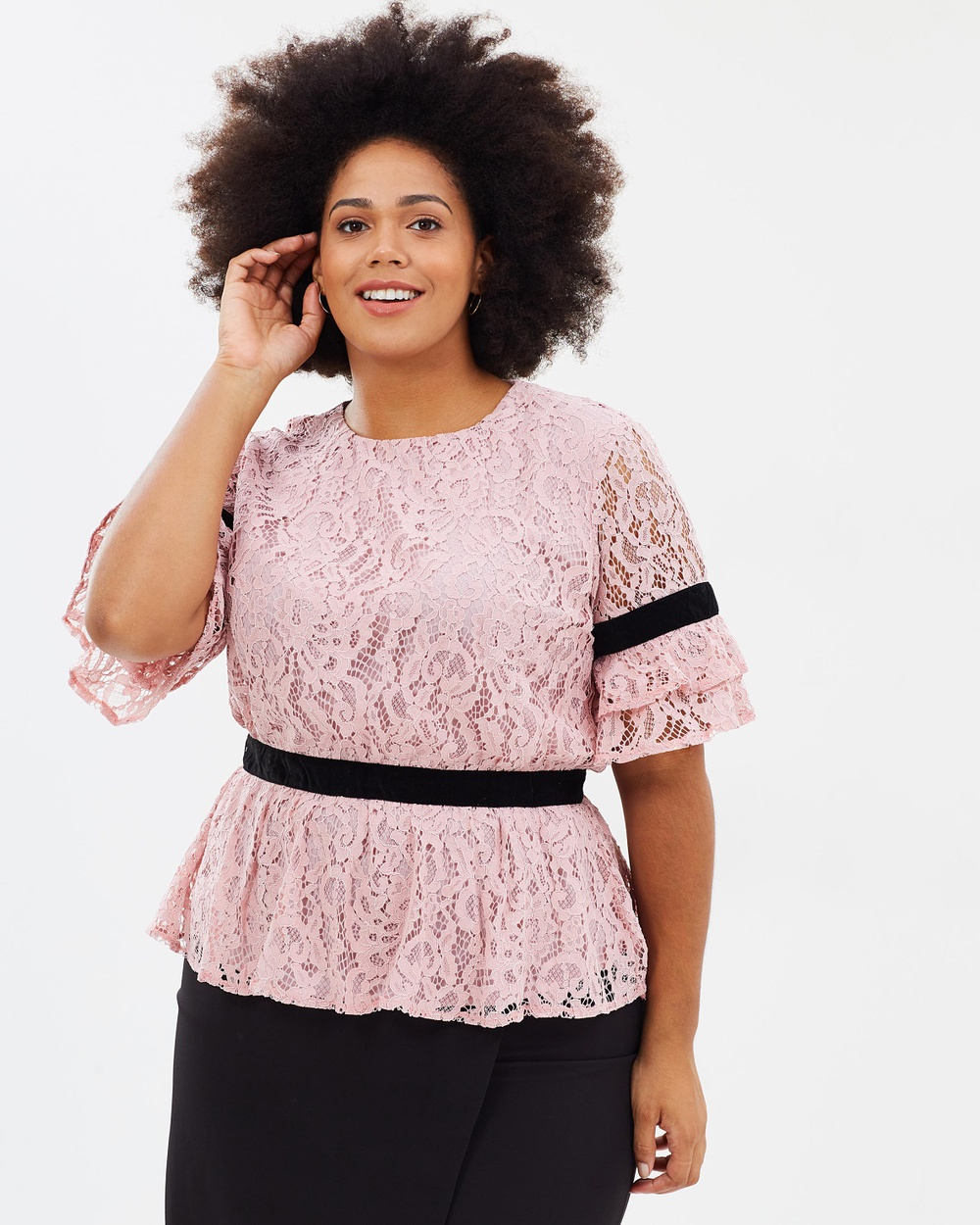 Atmos & Here Curvy ICONIC EXCLUSIVE Yvette Lace Contrast Top Tops Pink Lace ICONIC EXCLUSIVE Yvette Lace Contrast Top
