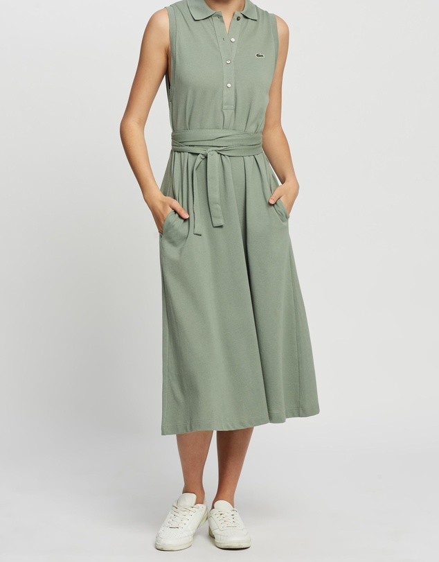 Lacoste - Classic Sleeveless Belted Polo Dress