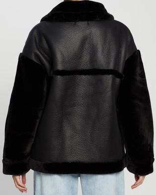 Missguided Faux Fur Sleeve Aviator Jacket - Coats & Jackets (Black)