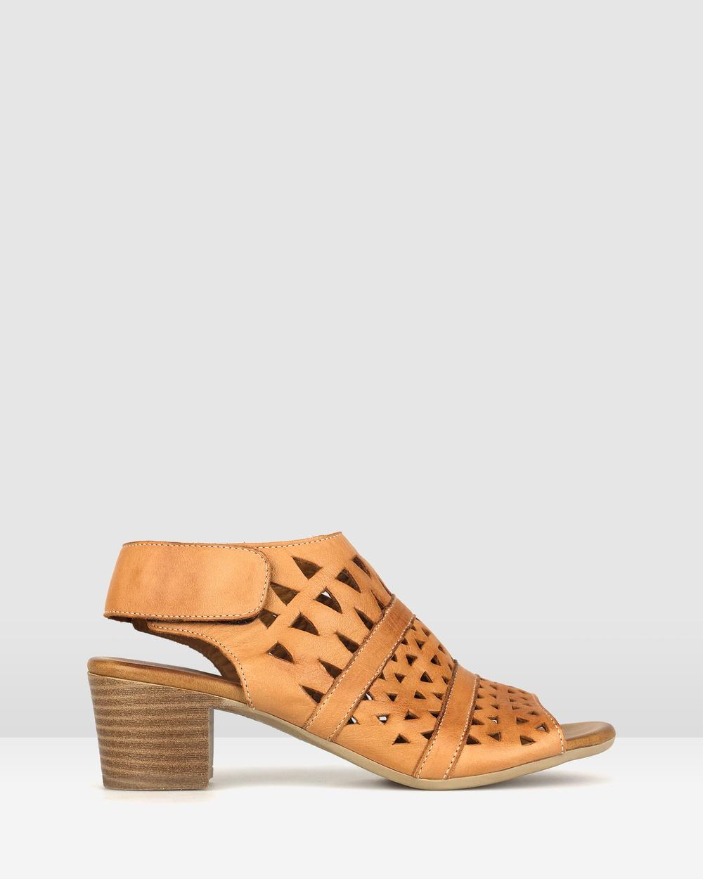 Airflex Delicious Cut Out Leather Sandals Tan