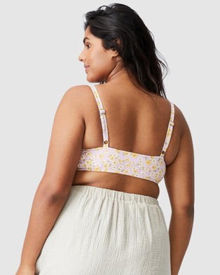 Cotton On Curve - Shirred Cropped Bralette Bikini Top Tops (Sally Daisy Soft Orchid)