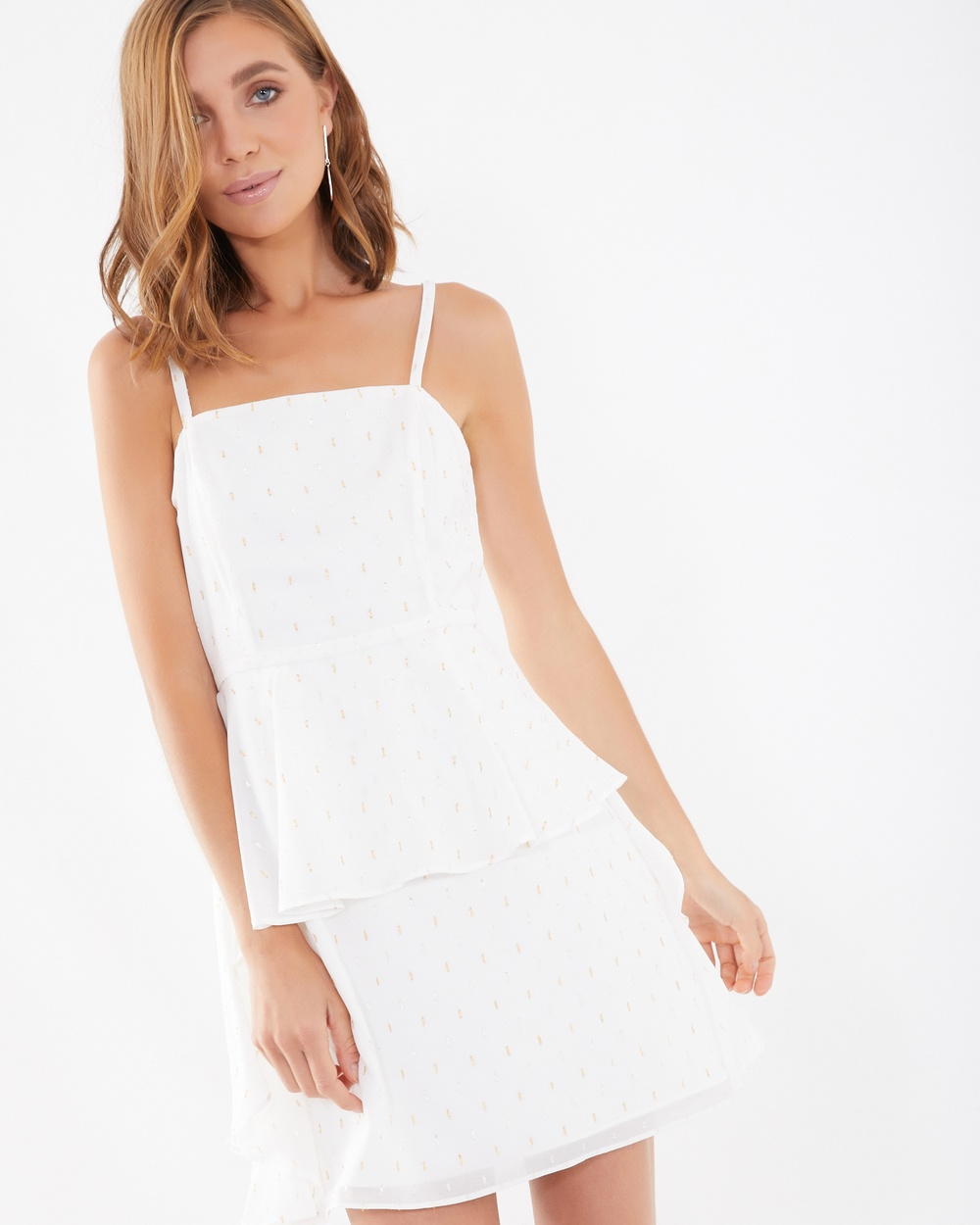 Calli Cindy Drape Front Dress Printed Dresses White Cindy Drape Front Dress