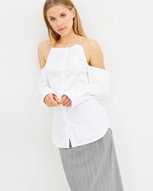 Christopher Esber – Jojo Drop Shoulder Halter Shirt White