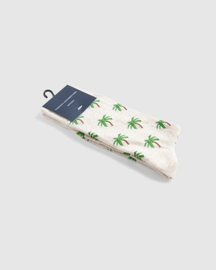 French Connection Palm Tree 1 Pk Socks - Socks (OATMEAL MARL)