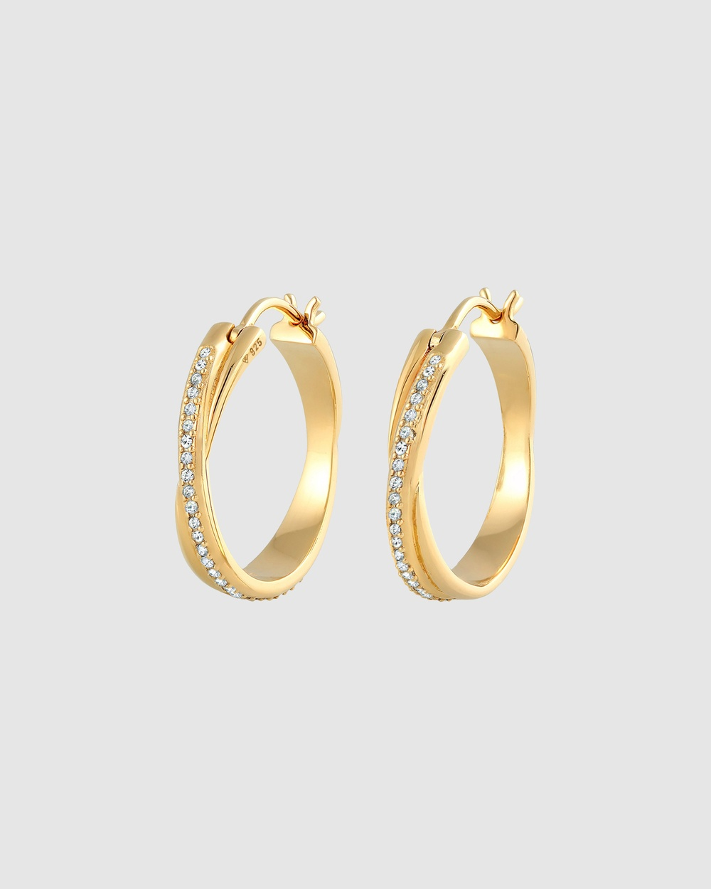 Elli Jewelry Earrings Creole Intertwined Crystal in 925 Sterling Silver Gold Plated Jewellery Gold