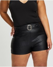 Missguided Curve - Faux Leather Shorts