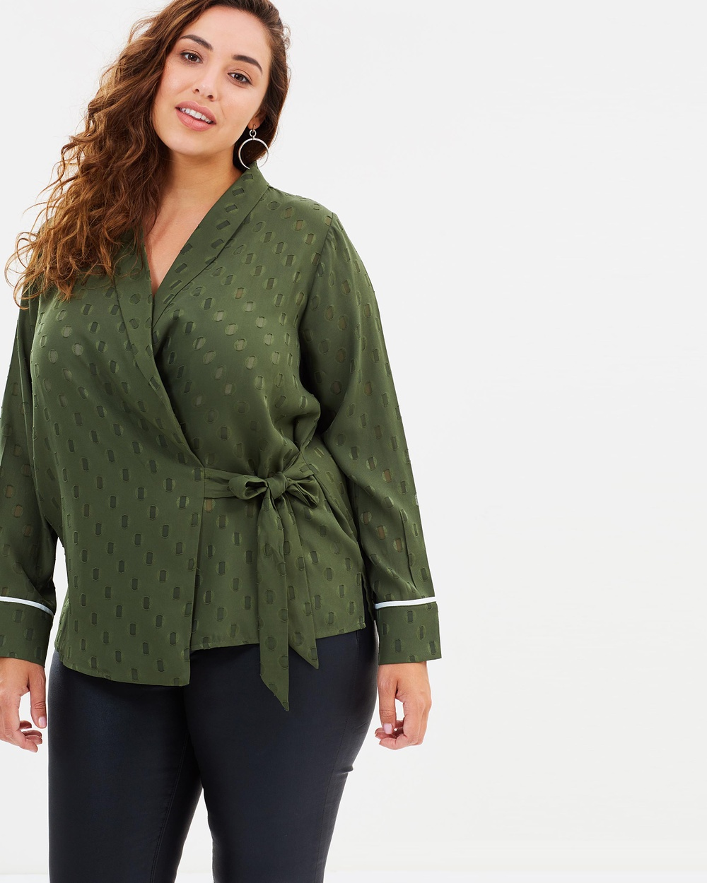 Atmos & Here Curvy ICONIC EXCLUSIVE Cara Blouse Tops Khaki ICONIC EXCLUSIVE Cara Blouse