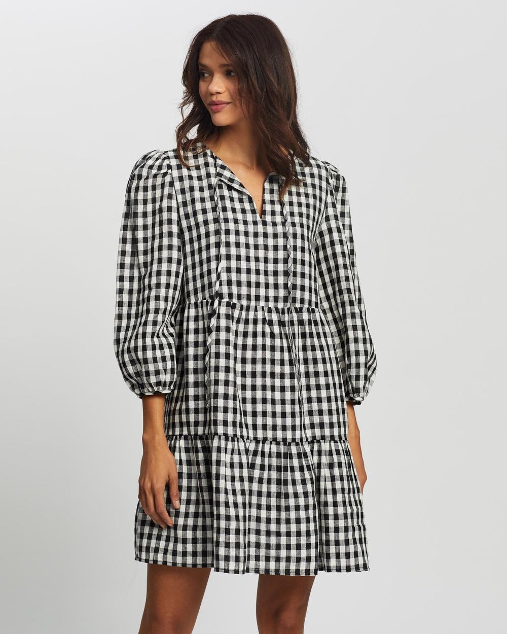AERE Linen Smock Dress Dresses Black & White Check Australia