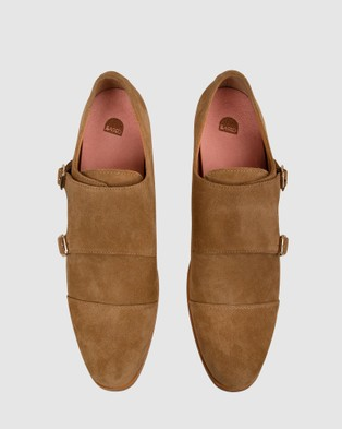 Bared Footwear Tungsten 2 Double Monk   Men's - Dress Shoes (Tan Suede)