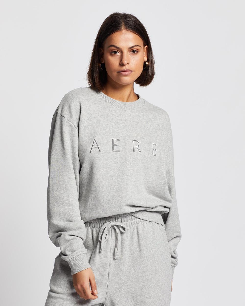 AERE Organic Cotton Aere Sweat Top Sweats Grey Marle