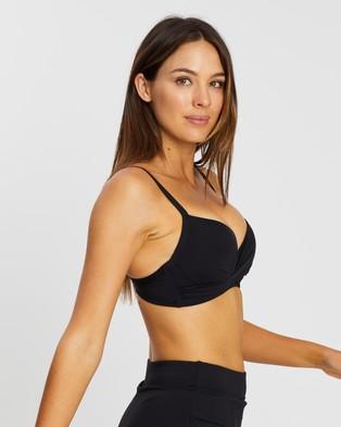 Sea Level Australia Cross Front Moulded Underwire Bra - Bikini Tops (Black)