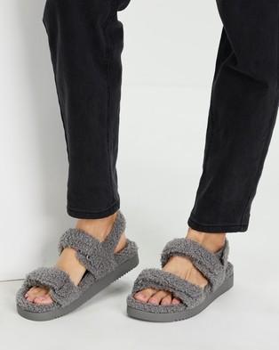 ALDO - Cloud Faux Fur Slides - Sandals (Grey) Cloud Faux Fur Slides