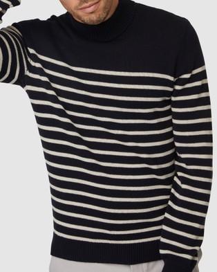 Jack London Stripe Turtleneck Knit - Jumpers & Cardigans (Navy)