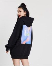 Missguided - Oversized Hooded Graphic Sweater Dress