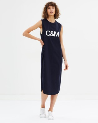 C & M Camilla and Marc – Exclusive Logo Tank Dress – Printed Dresses Navy