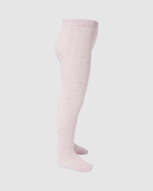 Milky Jacquard Tights   Kids - Full Length (Rose Blossom)